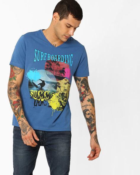 Graphic Print T-shirt By AJIO ( Lightblue )