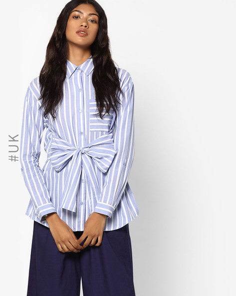 Striped Cotton Shirt By INFLUENCE ( Blue )