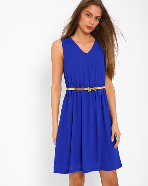 Sleeveless Dress With Belt By AJIO ( Blue )