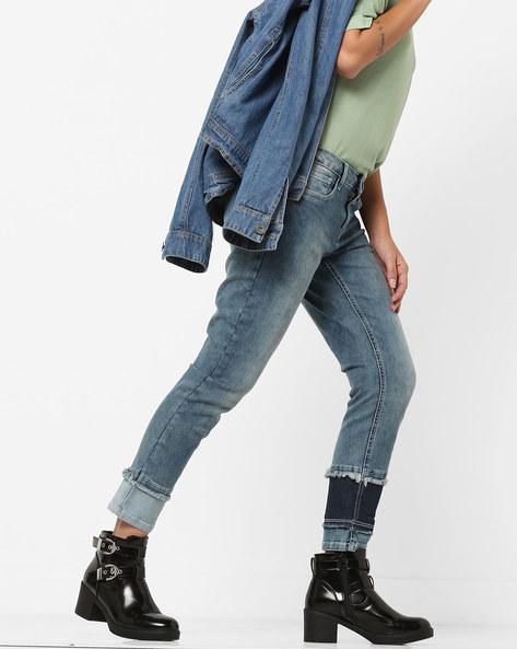 Skinny Cropped Jeans With Frayed Hems By AJIO ( Darkblue )
