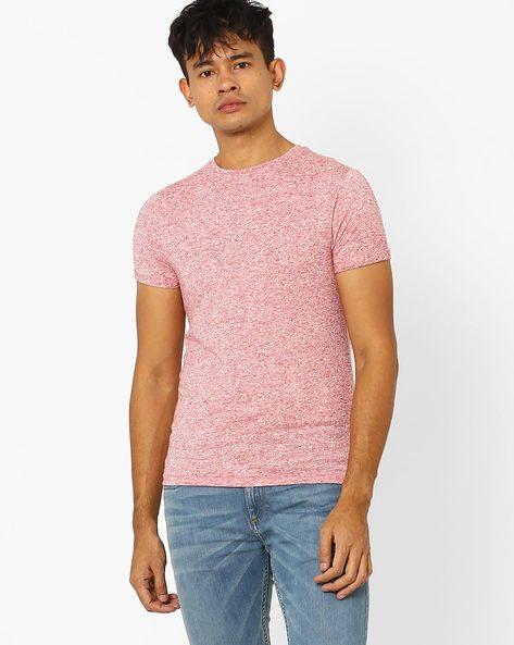 Crew-Neck Slim Fit T-shirt By Jack & Jones ( Maroon )