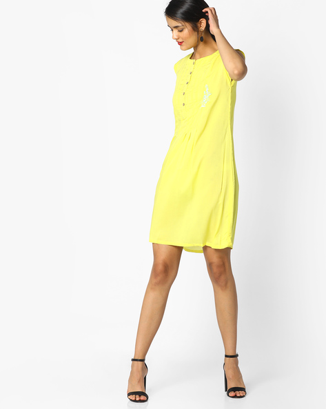 Pleated Shift Dress With Embroidery By AJIO ( Yellow )