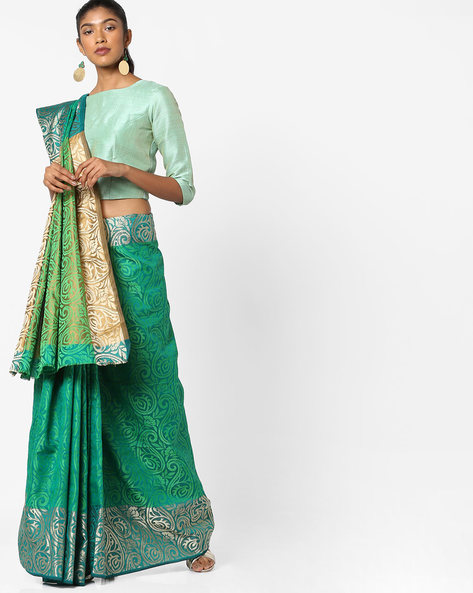 Paisley Printed Saree With Contrast Border By Era ( Green )