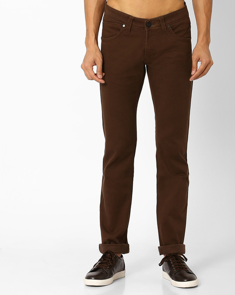 Skinny Fit Twill Stretch Trousers By BASICS ( Brown )