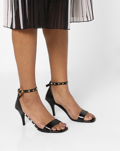 Heeled Sandals With Metallic Studs By MFT Couture ( Black )