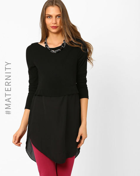 Hybrid Layered Maternity Top By AJIO ( Black )