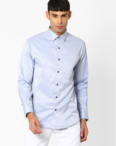 Slim Fit Yarn Dyed Formal Shirt By JOHN PLAYERS ( Blue )
