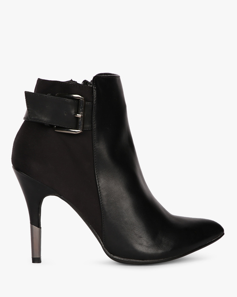 Pointed-Toe Heeled Boots By Carlton London ( Black )