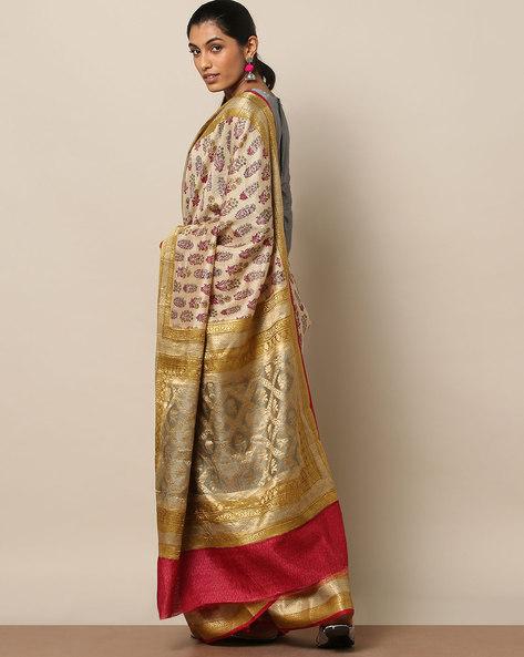 Pure Silk Tussar Banarasi Printed Saree By Rudrakaashe-MSU ( Beige )
