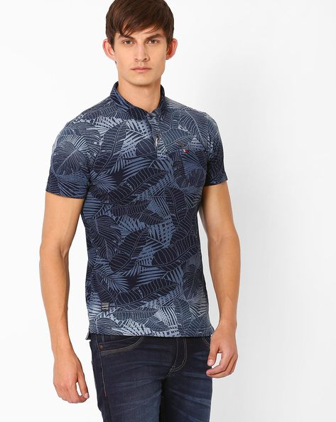 Tropical Print Slim Polo T-shirt By DNM X ( Darkblue )