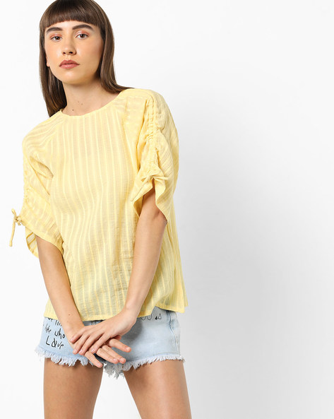 Self-Striped Top With Sleeve Tie-Ups By AJIO ( Yellow )