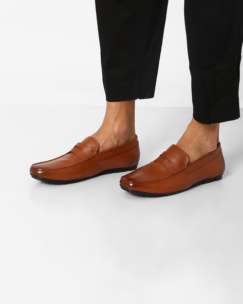 Leather Penny Loafers By Hats Off Accessories ( Brown )