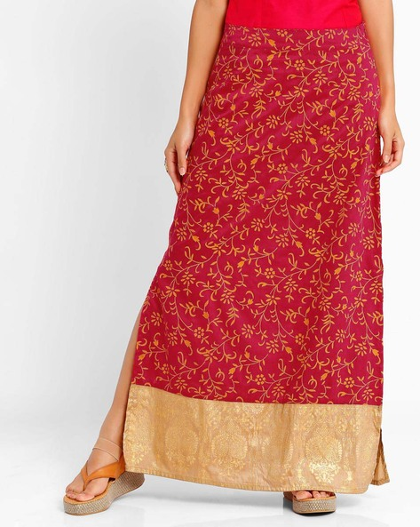 Floral Print Maxi Skirt By AJIO ( Magenta )