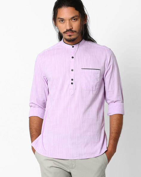 Regular Fit Popover Shirt With Patch Pocket By NETPLAY ( Pink )