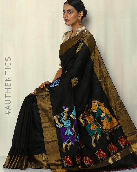 Handloom Designer Pure Silk Dupion Saree By Pretty Woman ( Black )