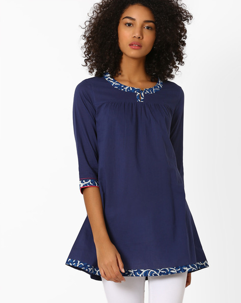Cotton Tunic With Gathers By AJIO ( Navyblue )