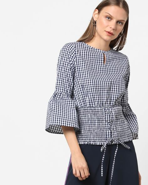 Gingham Checked Blouse Top With Smocking By Femella ( Blue )