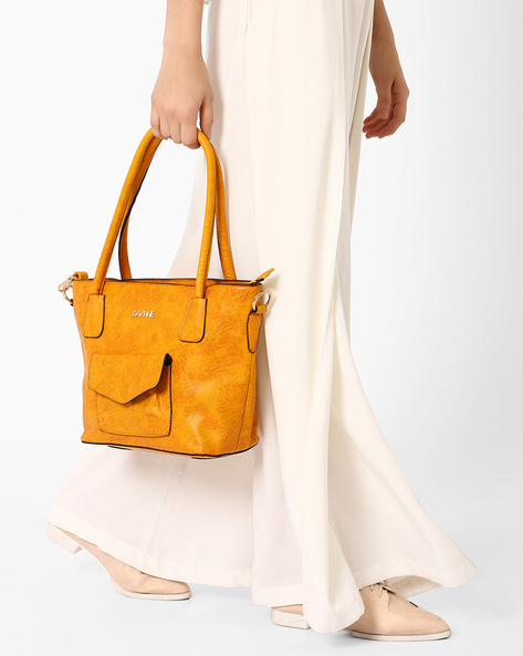 Textured Shoulder Bag By Daphne ( Yellow )