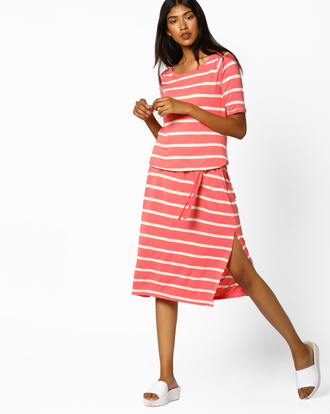 Striped Blouson Midi Dress By BOSSINI ( Coral )