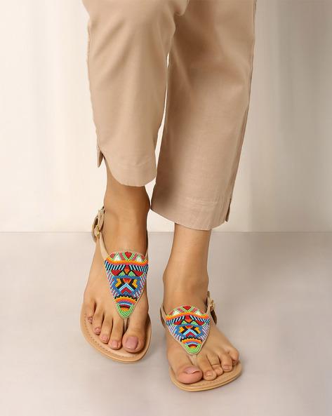 Beaded Thong Sandals By Indie Picks ( Brown )