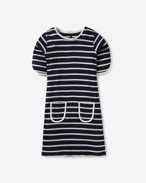 Striped Shift Dress With Pockets By RIO GIRLS ( White )