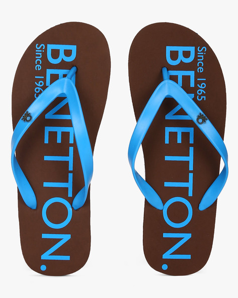 Thong-Style Flip-Flops With Printed Branding By UCB ( Brown )