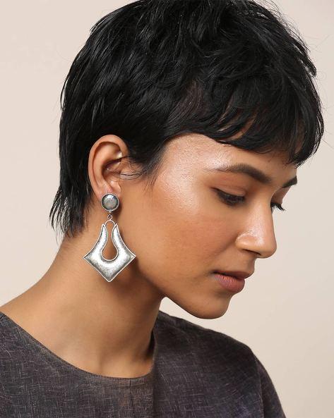 Oxidised Brass Earrings By Indie Picks ( Silver ) - 460164026001