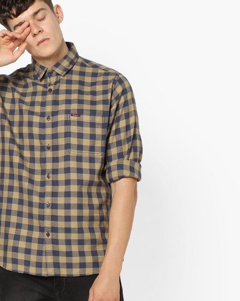 Checked Shirt With Spread Collar By Pepe Jeans ( Khaki )