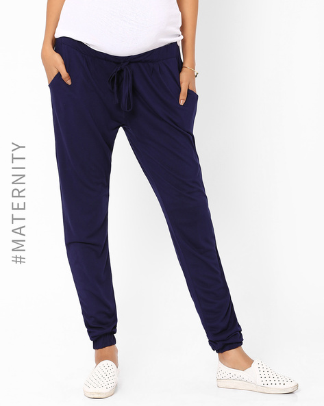 Cuffed Maternity Trousers With Drawstring By AJIO ( Navyblue )