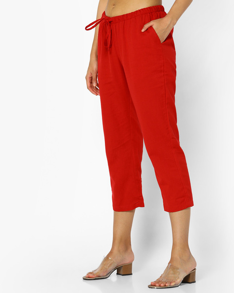 Mid-Rise Pants With Tie-Up By Project Eve IW Fusion ( Red )