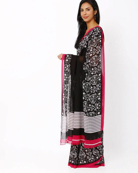 Floral Print Georgette Saree By Vaamsi ( Black )