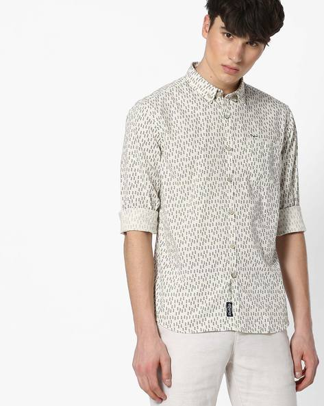 Slim Fit Printed Shirt With Button-Down Collar By FLYING MACHINE ( White )