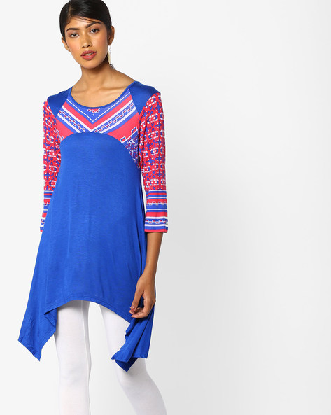 Printed Tunic With Handkerchief Hem By And ( Assorted )