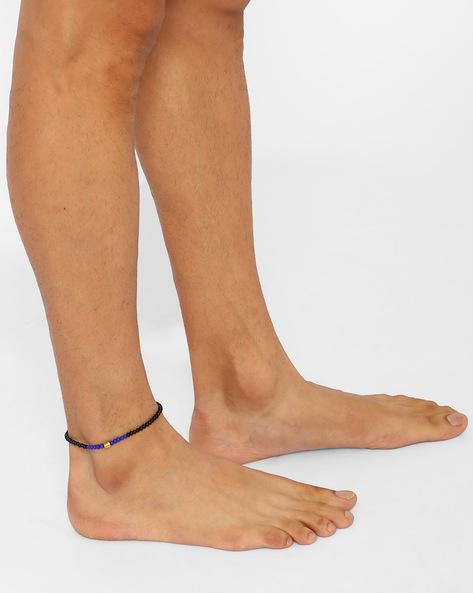 Beaded Adjustable Anklet By Alto Vida ( Blueblack )