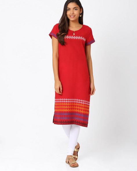 Kurta With Woven Design By AURELIA ( Red )