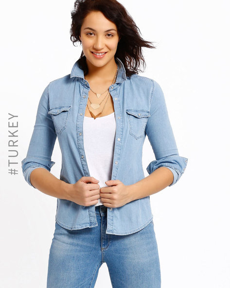 Denim Shirt With Flap Pockets By Cross Jeans ( Lightblue ) - 460007741003