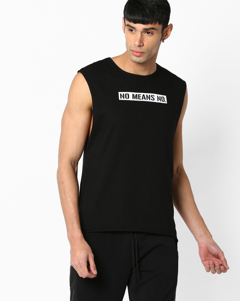 Sleveeless Crew-Neck T-shirt By ADAMO LONDON ( Black )