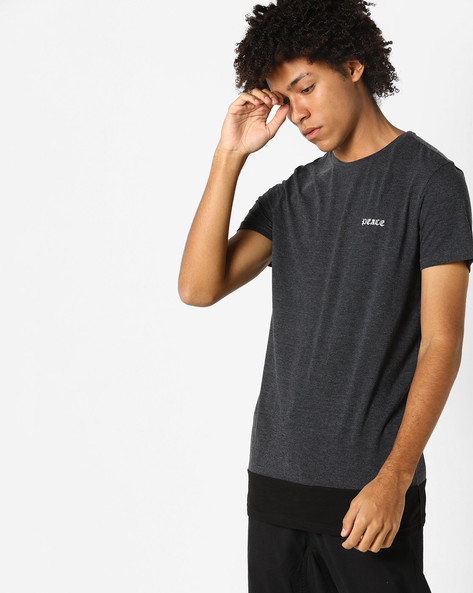 Panelled T-shirt With Printed Back By AJIO ( Anthracite )