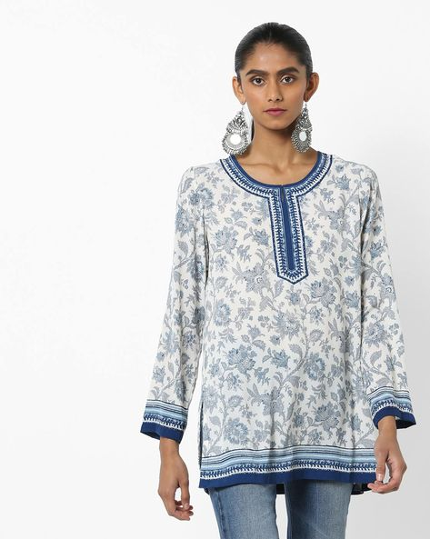 Floral Print Top With Notched Round-Neck By Biba ( Blue )