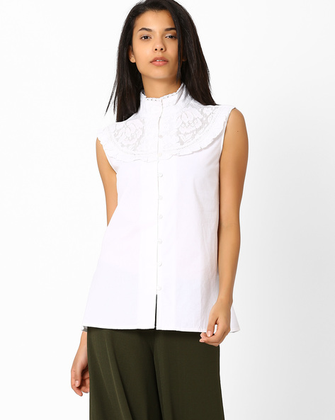 Lace Panelled Top By RIDRESS ( Offwhite )