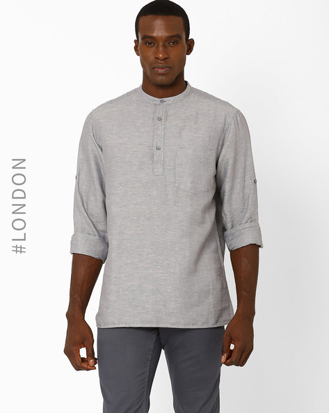 Linen Shirt With Chest Placket By Marks & Spencer ( Grey )