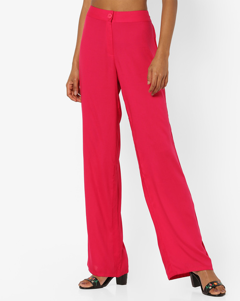 Mid-Rise Pants With Button Closure By Global Desi ( Pink )