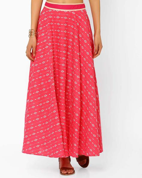 Printed Maxi Skirt By AJIO ( Pink )