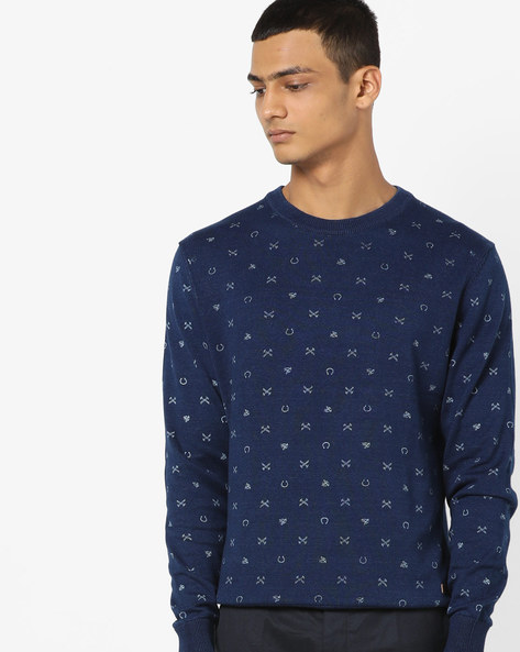 Printed Crew-Neck Pullover With Ribbed Hems By US POLO ( Indigo ) - 460036310001