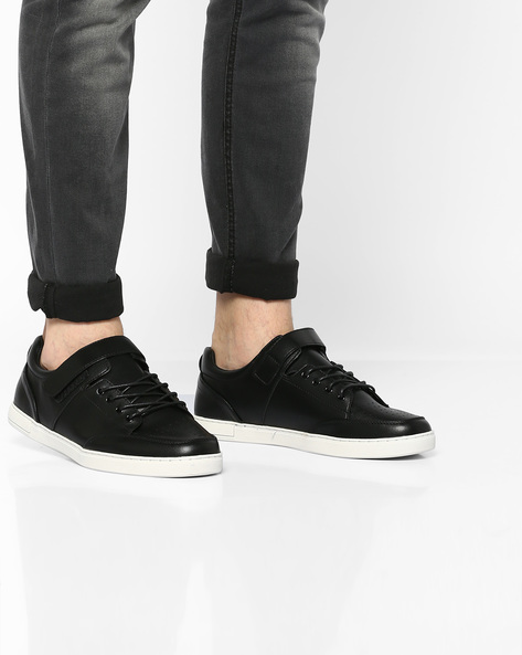 Lace-Up Sneakers With Perforations By AJIO ( Black )