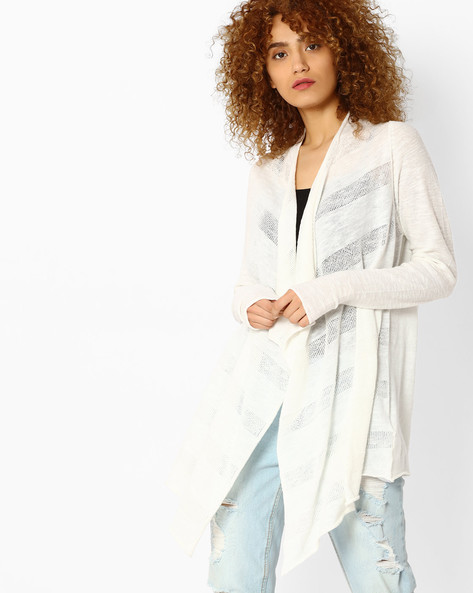 Striped Waterfall Shrug By Vero Moda ( White )