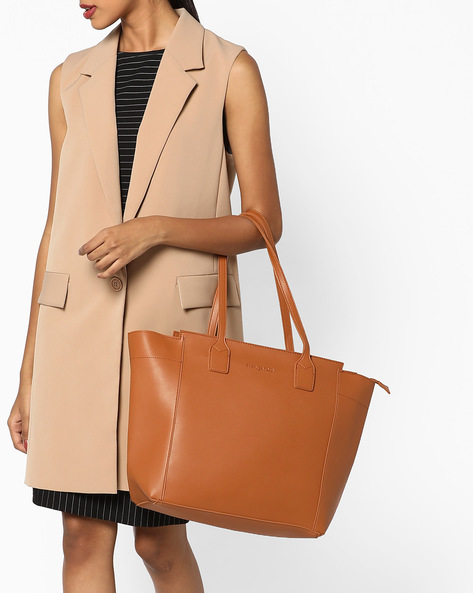 Tote Bag With Short Handles By FUR JADEN ( Tan )