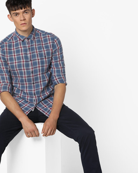 Checked Shirt With Patch Pocket By FLYING MACHINE ( Indigo )