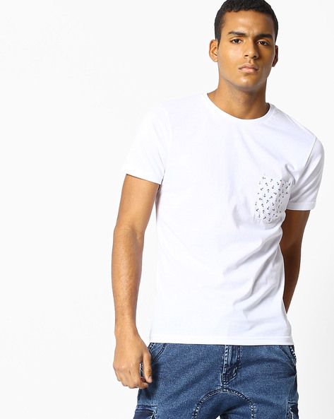 Slim Fit T-shirt With Printed Pocket By The Indian Garage Co ( White )