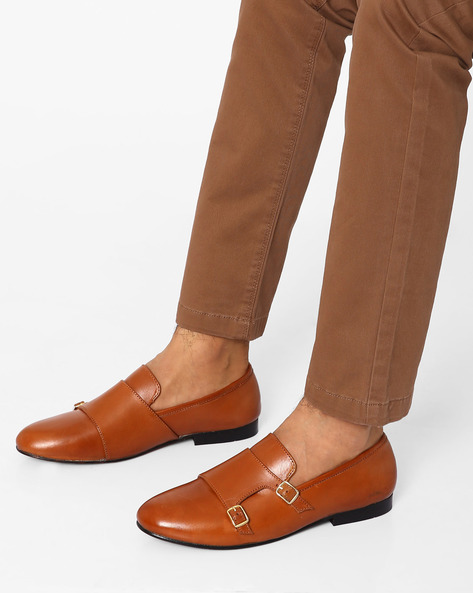Leather Monk Shoes By Modello Domani ( Tan )
